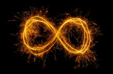 symbol for infinity carved in light
