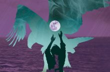Image of an eagle, moon, and man on purple background. Image is artwork from the performance poster.