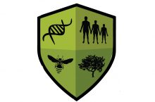 Seal with DNA double helix, people, tree, and bees on it
