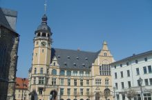 Castle-like building with clocktower in Köthen,
