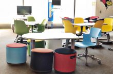 colorful university classroom