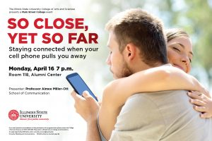 "Poster for ""So Close and Yet So Far"" talk by Professor Aimee Miller-Ott that will be April 14 at 7 p.m. at the Alumni Center."