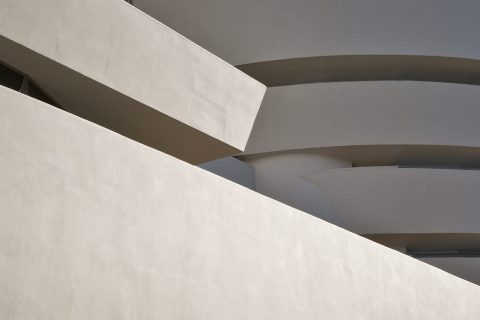 exterior shot of the architecture of the Guggenheim building