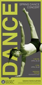 Poster for 2018 Spring Dance Concert showing dancer in an inversion pose.