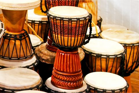 a collection of traditional and hand-crafted drums