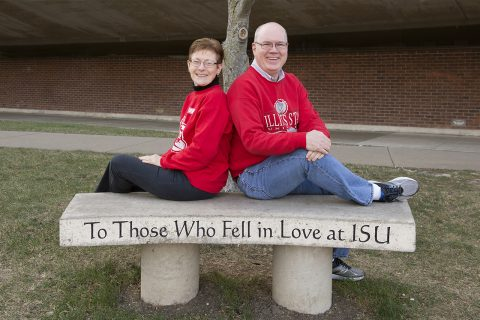 Lisa Rinkenberger and Matt Walsh memorialized their campus romance with the ISU love bench.
