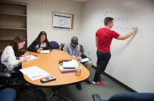 Students study in a group at the Julia N. Visor Academic Center