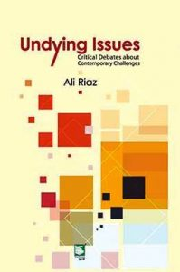 blue background with book cover Undying Issues: Critical Debates about Contemporary Challenges by Ali Riaz