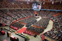 A view of the filled Redbird Arena from high in the stands at Commencement
