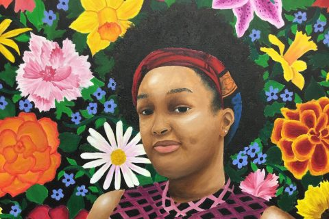 Image of painting of woman surrounded by flowers.