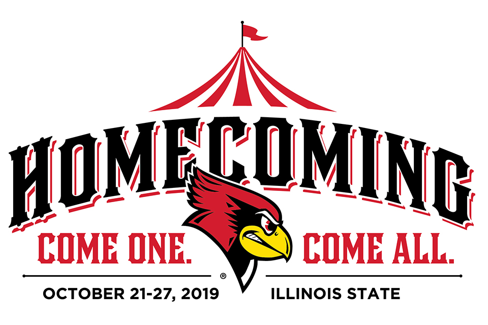 Homecoming Logo with the words Homecoming, Come One, COme all, October 21-27, Illinois State