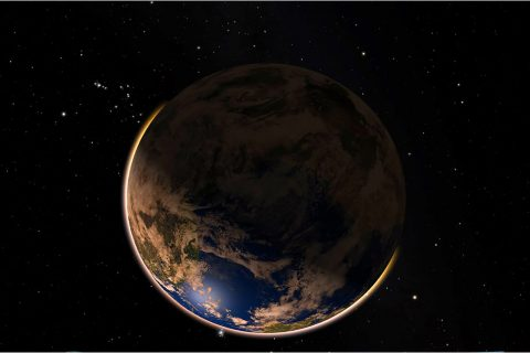 A shadowed image of the Earth as seen from space