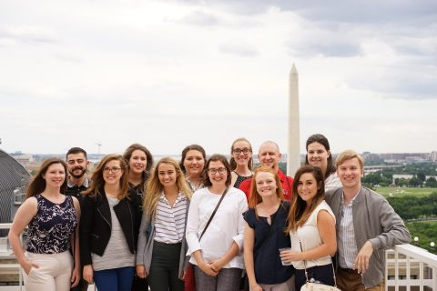group photo in front of washington monument