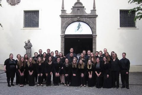 The Illinois State University Concert Choir following their performance at the Church of Our Lady of the Snows in Prague.