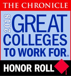 Logo for The Chornicle of Higher Education's Great Colleges to Work For with the year 2018 and the words Honor Roll