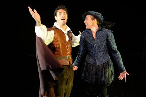 "Anthony Martinez and Katherine Fried in ""Shakespeare in Love."""