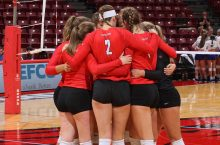 women's volleyball players huddled up ISU