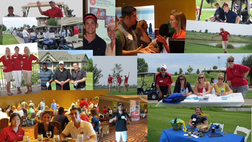Images of golfers, diners, and those taking part in networking.