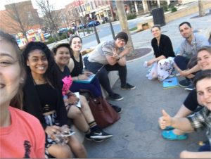 Group of people sitting in Uptown Normal