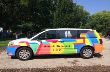 Colorful minivan with