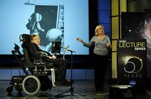 Dr. Stephen Hawking, a professor of mathematics at the University of Cambridge, delivers a speech entitled