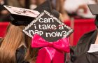 "graduation cap with funny saying ""Can I Take a Nap Now?"""