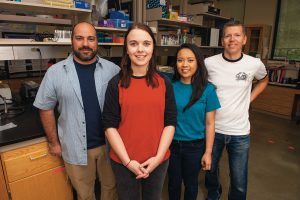 Assistant Professor of Molecular Neuroethology, Andres Vidal-Gadea, master's students Casey Gährs '17 and Abbi Benson '15, and Professor Wolfgang Stein are hoping the mutant crayfish can help them and other scientists solve mysteries in neuroscience.