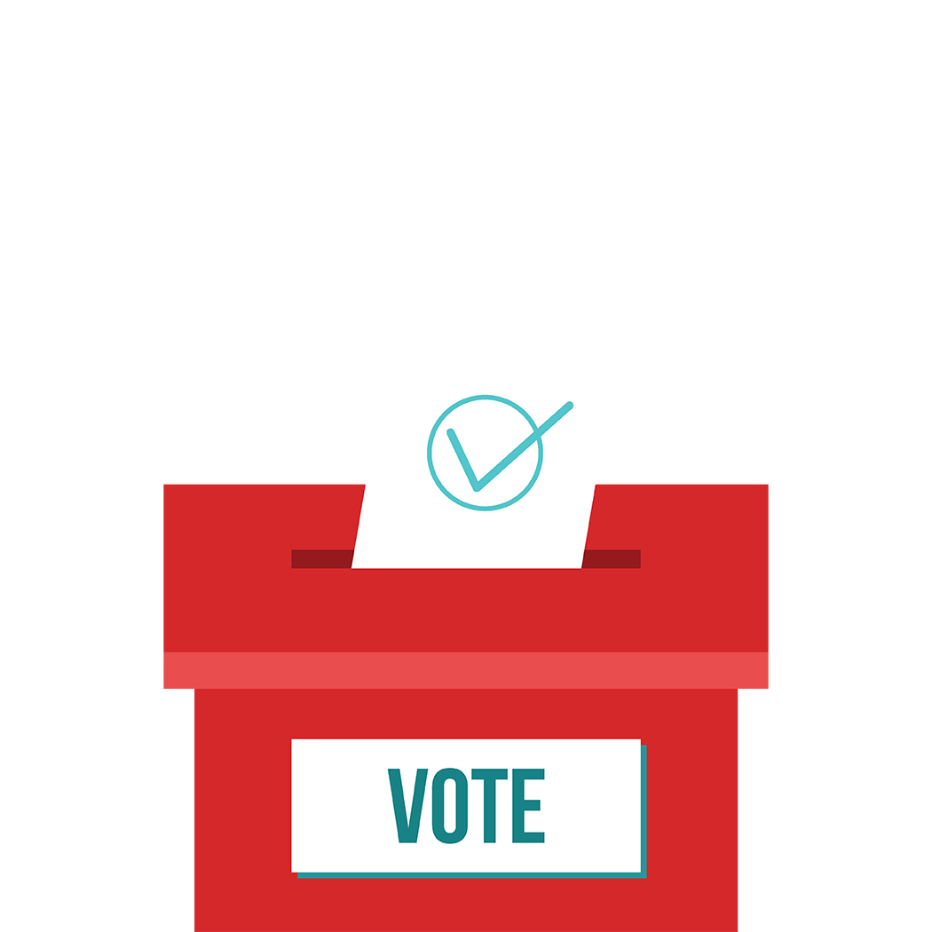 Voting concept in flat design. Hand putting voting paper in the ballot box.