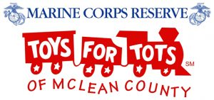 Cartoon trains with the words Marine Corps Reserve Toys for Tots of McLean County