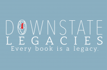 Downstate Legacies logo, white text on a blue background