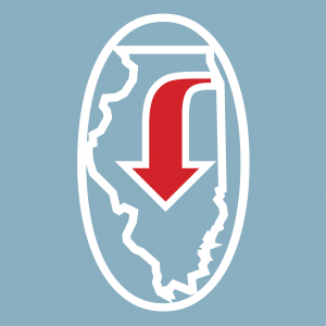 Blue background, white outline of Illinois with a white circle around the outside and a red arrow pointing downwards inside Illinois.
