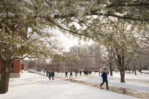 The Illinois State quad covered in winter snow. The time of year you visit campus can have a big impact on the impression a college makes on you.