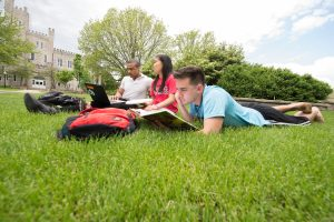 Students study on the Quad at Illinois State. Experiencing that part of student life for yourself during a campus visit can help to determine what matters most to you.
