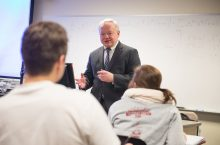 Krzysztof Ostaszewski, Professor of Mathematics and Actuarial Program director teaching class.