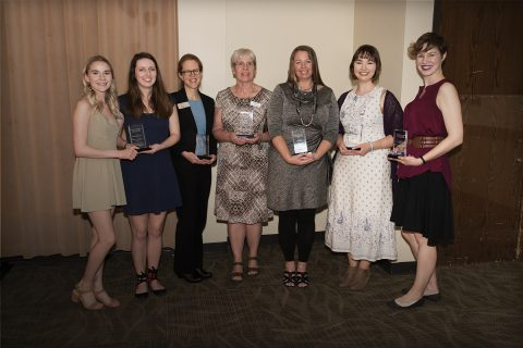 Award recipients at the third annual Civic Engagement Celebration: Jade Surface (left) and Zoe McGrath, representing the student chapter of Habitat for Humanity; Beverly Beyer, senior associate director of the Stevenson Center; Mary Ann Pullin, executive director of Home Sweet Home Ministries; Missy Nergard, director of the Office of Sustainability; Kaitlyn Remian, Alternative Spring Break coordinator; and Lauren Lacy, director of development for the McLean County Museum of History.
