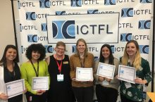 Emma Grochowski (left), Zilkia Guzmán Morales,Hannah Safiran, Angelica Hernandez, and Amanda Riszko, were all recipients of the award. Professor Susan Hildebrandt is third from left.