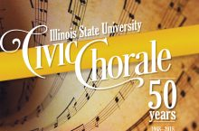 Sheet music with Civic Chorale 50th Anniversary logo.