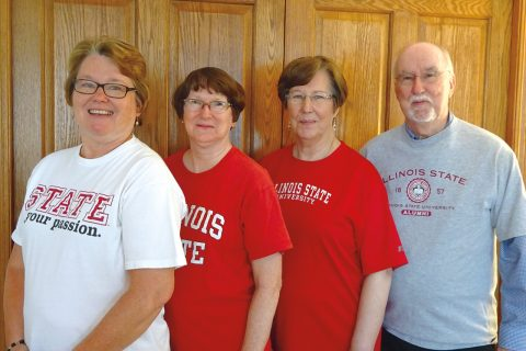 Asplund Redbird family members are, from left to right, Joy (Asplund) Dwyer '76; Mary (Asplund) Orton '74, M.S.'78; Ione (Asplund) Hesch '69; and Roy Asplund '65, M.S.'68.