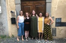 Group of 5 ISU students standing in alley in Orvieto, Italy