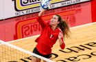 Alison Line, Mennonite College of Nursing student, playing for ISU volleyball.