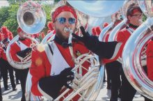 image of Zimmerman playing the tuba