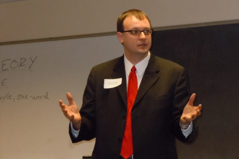 Scott Kording giving a lecture