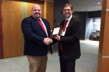 Lucas Maxwell with Robert Rhykerd, department chair for the Department of Agriculture at ISU.