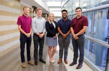 Alpha Kappa Psi's five-member Adobe Team at Illinois State consists of Ben Justice (left), Hunter Highfill, Carrie Happel, Konner Foster, and Derek Blidy.