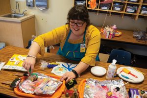 Mary Smyers is one of the Illinois State graduate students instructing children and youth in the visual arts as part of the new Illinois Art Station.