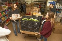 Noah Tang (right) and Jeanna Campbell were among the ISU students who helped start the food pantry.