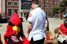 Reggie gets his blood pressure checked at National Walking Day