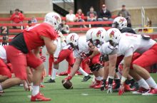 Redbird football team in action