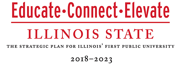 Logo with the words Educate, Connect, Elevate, Illinois State: The Strategic Plan for Illinois' First Public University, 2018-2023