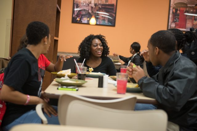 Students at at dining center table